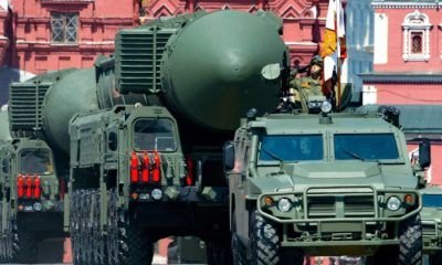 Russian RS-24 Yars ballistic missiles roll in Red Square during the Victory Day military parade in Moscow, Russia, on June 24, 2020. (Alexander Zemlianichenko/AP Photo)