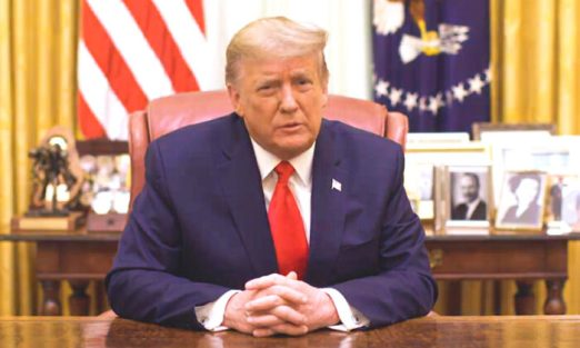 President Donald Trump speaks in a video released by the White House on Jan. 13, 2021. (Screenshot/White House)