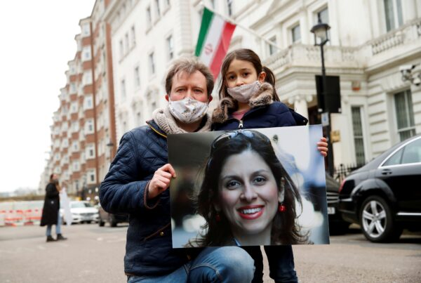 ichard Ratcliffe protests outside Iranian Embassy in London