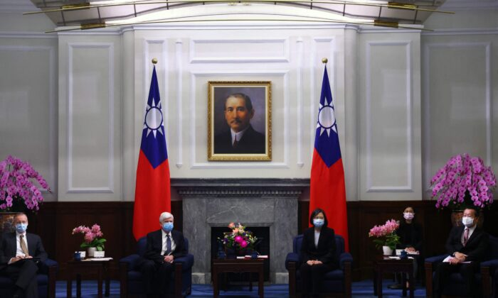 Taiwan President Tsai Ing-wen and former U.S. Sen. Chris Dodd (D-Conn.) attend a meeting at the presidential office in Taipei on April 15, 2021. (Ann Wang/POOL/AFP via Getty Images)