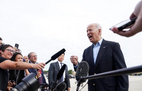 Biden is interviewed by reporters