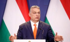 Hungarian prime minister Viktor Orban, speaks during a joint press conference in Budapest, Hungary on April 1, 2021. (Laszlo Balogh/AP Photo)