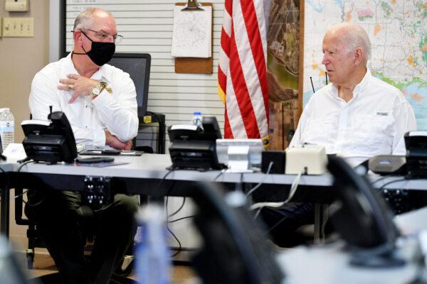 Louisiana Governor John Bel Edwards (L) and President Joe Biden