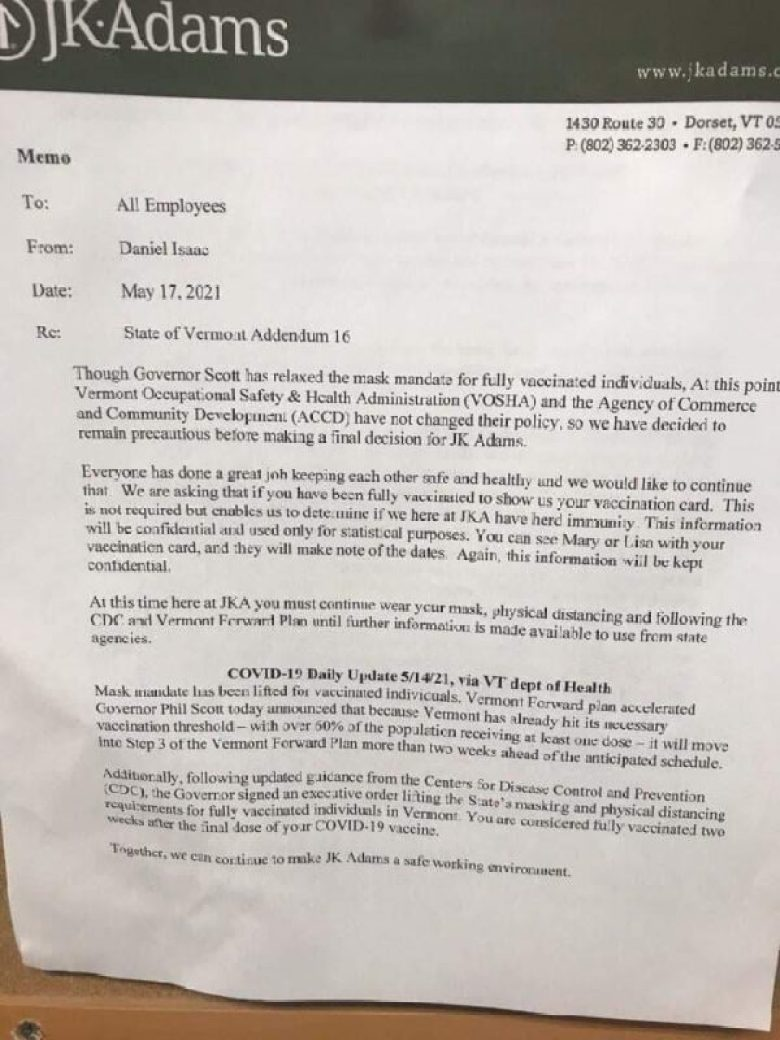 """May 17, 2021 email from CEO Daniel Isaac of JK Adams in Dorset, VT requesting all """"fully vaccinated"""" employees to voluntarily show their vaccination card. (Photo, courtesy of Karen Skau)"""