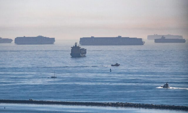 Ships await to enter the ports of Los Angeles and Long Beach on Oct. 14, 2021. (John Fredricks/The Epoch Times)