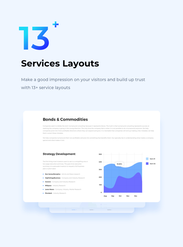 Business Financial Institution WordPress Theme - Services Layouts