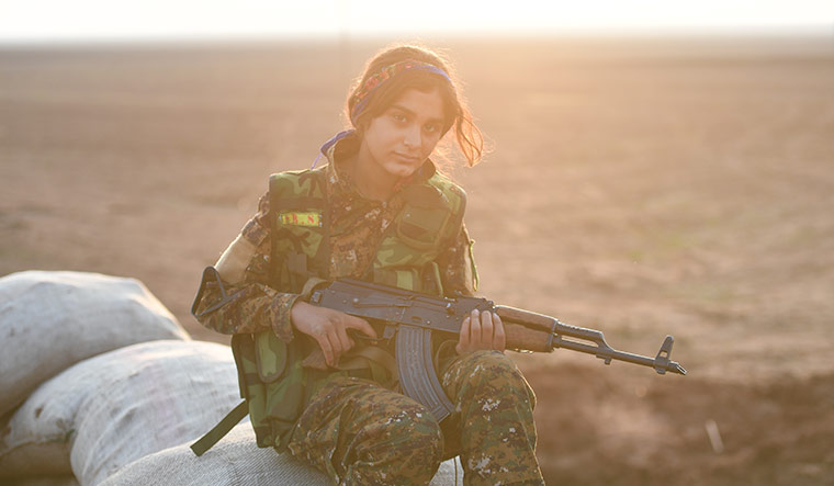 Woman of steel: Beritan Qamishlo, a young fighter of the all-female branch of the Kurdish militia.