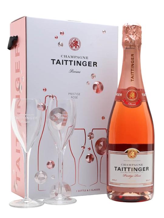 Taittinger Brut Prestige Rose Champagne  Glass Set  The
