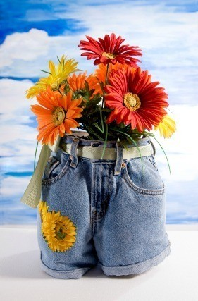 Recycled Jeans Planters  ThriftyFun