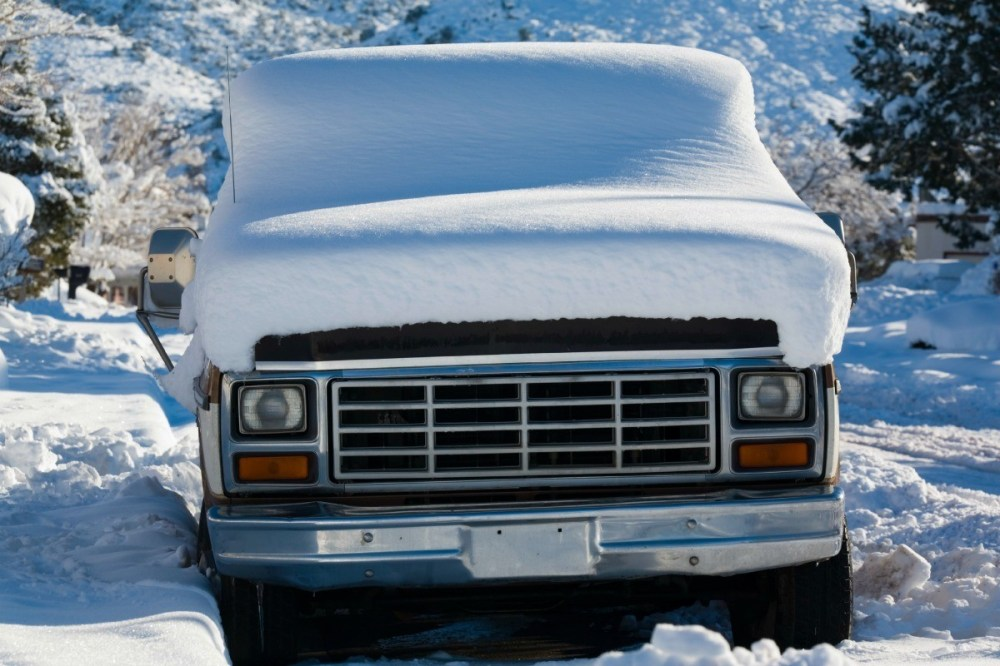 medium resolution of snow covered truck