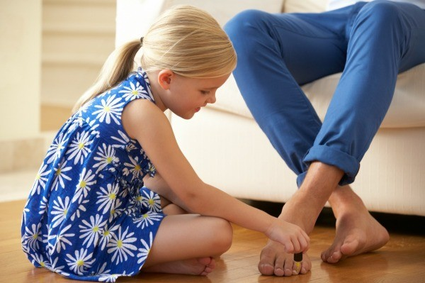 Removing Nail Polish From Clothing A Young Painting Her Father S Toenails