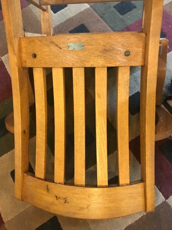 murphy chair company vintage swivel finding the value of chairs thriftyfun i have a think oak with 5 slats in back