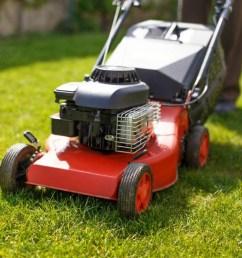 red lawn mower on fresh cut grass  [ 1200 x 800 Pixel ]