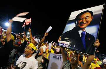 A supporter of ousted Thai Prime Minister Thaksin Shinawatra