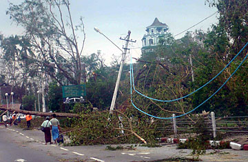 Uprooted trees bring down power lines after cyclone Nargis hit Rangoon, Burma on May 4