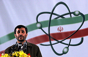 Iranian President Mahmoud Ahmadinejad, speaks about Iran's nuclear enrichment facility in Natanz, Iran.