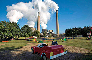 Activists don�t want more coal plants, like this one near a Pennsylvania playground.