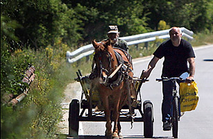 A man drives a horse cart while pulling a cyclist on a road near the village of Vetren, east of the Bulgarian capital, Sofia