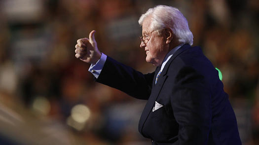 Ted Kennedy greets the crowd at the Democratic National Convention Denver.