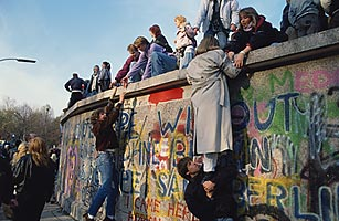 Crowds bear witness to the fall of the Berlin Wall on Nov. 10, 1989