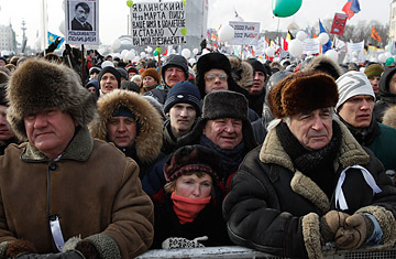 Russians Rally for and Against Putin Despite an Icy Day