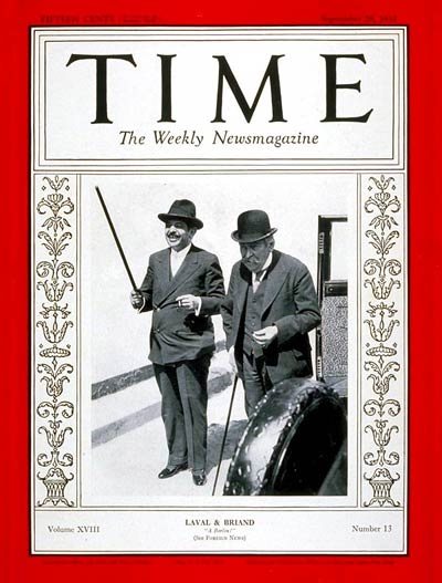 Time Magazine Cover Pierre Laval Aristide Briand Sep