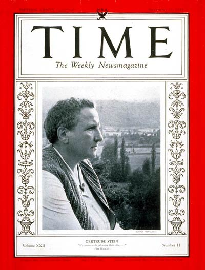 TIME Magazine Cover: Gertrude Stein -- Sep. 11, 1933