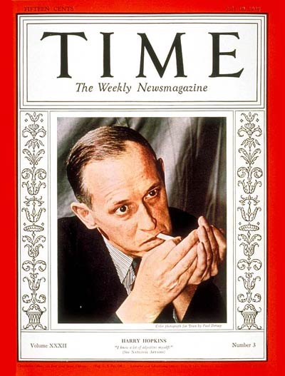 TIME Magazine Cover Harry L Hopkins  July 18 1938