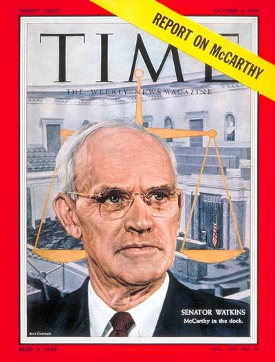 Utah Sen. Arthur V. Watkins on the cover of Time Magazine, 1954; copyright Time, Inc.