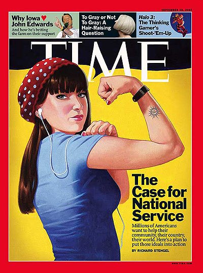 That's actually the cover of last year's national service issue of Time. I like it much better than the one on newstands this week.