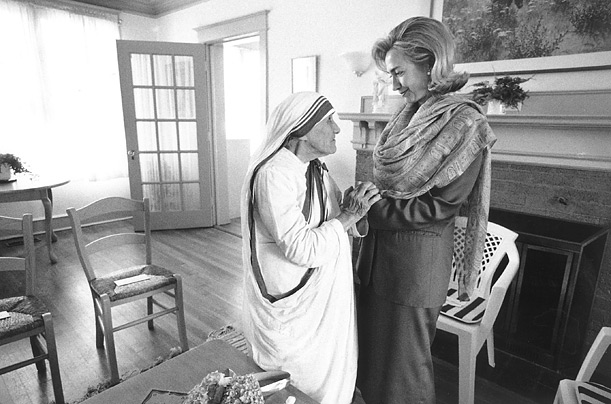 Former First Lady Hillary Rodham Clinton meets with Mother Teresa in 1995 at the opening of the Mother Teresa Home for Infant Children in Washington.