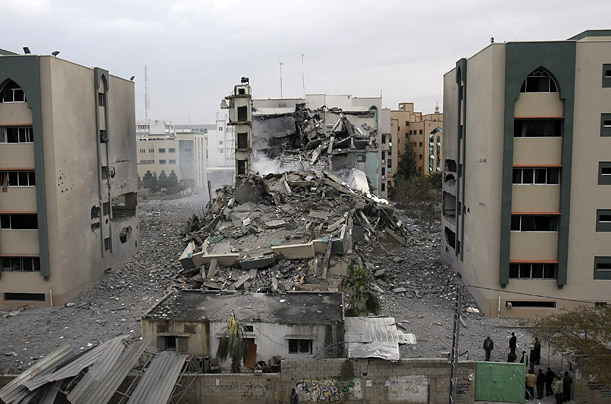 Israeli aircraft bombed Gaza City's Islamic University, a stronghold of the ruling Hamas movement