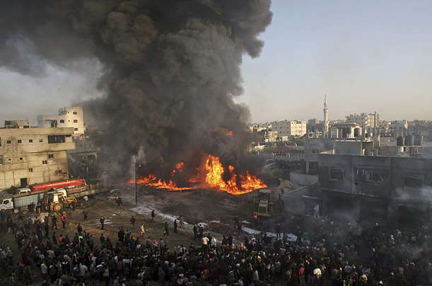 A section of the Rafah refugee camp goes up in smoke during the onslaught
