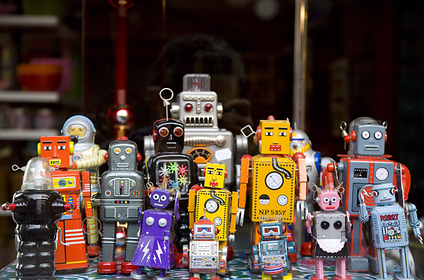 Little toy robots are sold as collectors� items in Stockholm.