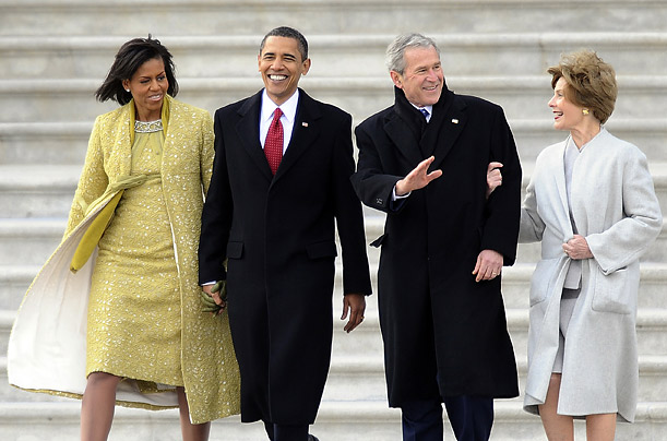 First Lady Michelle Obama, President Barack Obama, former President George W. Bush and former First Lady Laura Bush leave the Inauguration