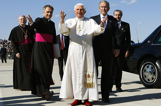 Since his election, the Pope has traveled to Latin America, Australia and the United States, where he was greeted at Andrews Air Force Base by President Bush.