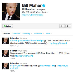 Bill Maher  The 140 Best Twitter Feeds of 2011  TIME