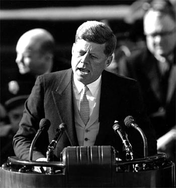 JFK speaking at inauguration -- AP photo