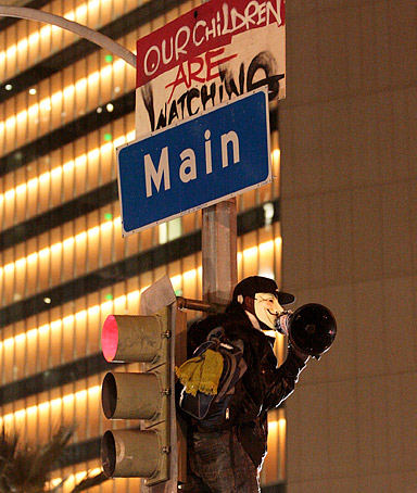 Protestor at Occupy LA
