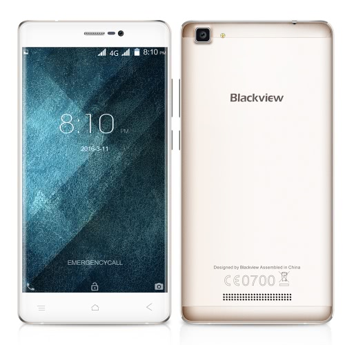 "Blackview A8 Max Smartphone 4G Android 6.0 OS Quad Core MTK6737 5.5"" IPS Screen 1.3GHz 2GB RAM 16GB ROM 5MP 8MP Dual Cameras CNC Technology Double Tap Wake-up"