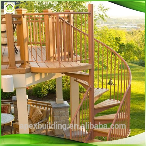 Natural And Elegant Design Curved Shape Outdoor Wooden Stairs   Outdoor Wooden Steps Design   Exterior   Compact Space Outdoor   Railing   Rustic   Storage Underneath