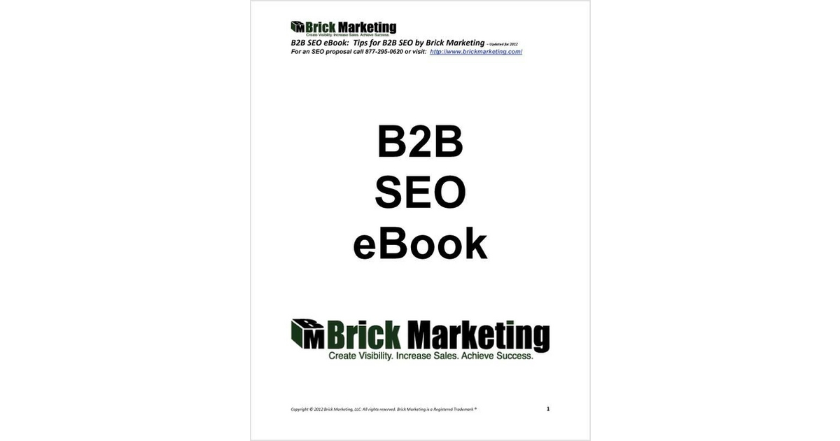 B2B SEO eBook: Tips for B2B SEO, Free Brick Marketing eBook