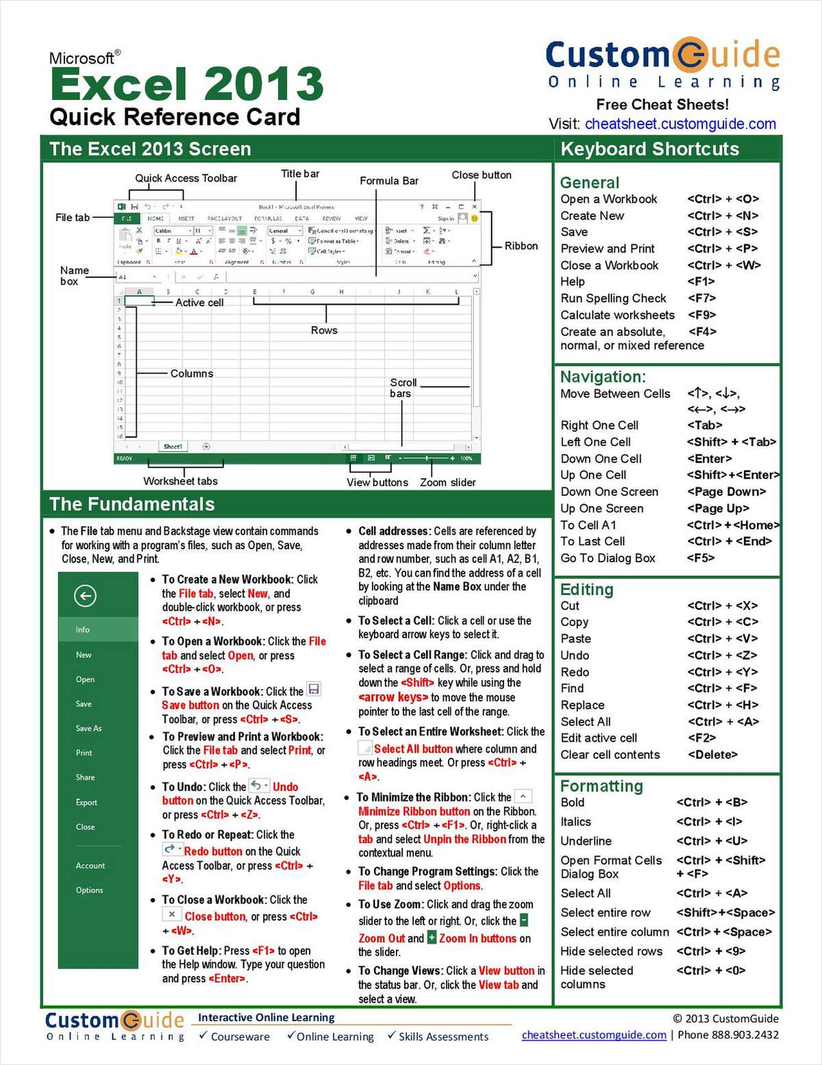 Microsoft Excel Quick Reference Guide Free Tips And