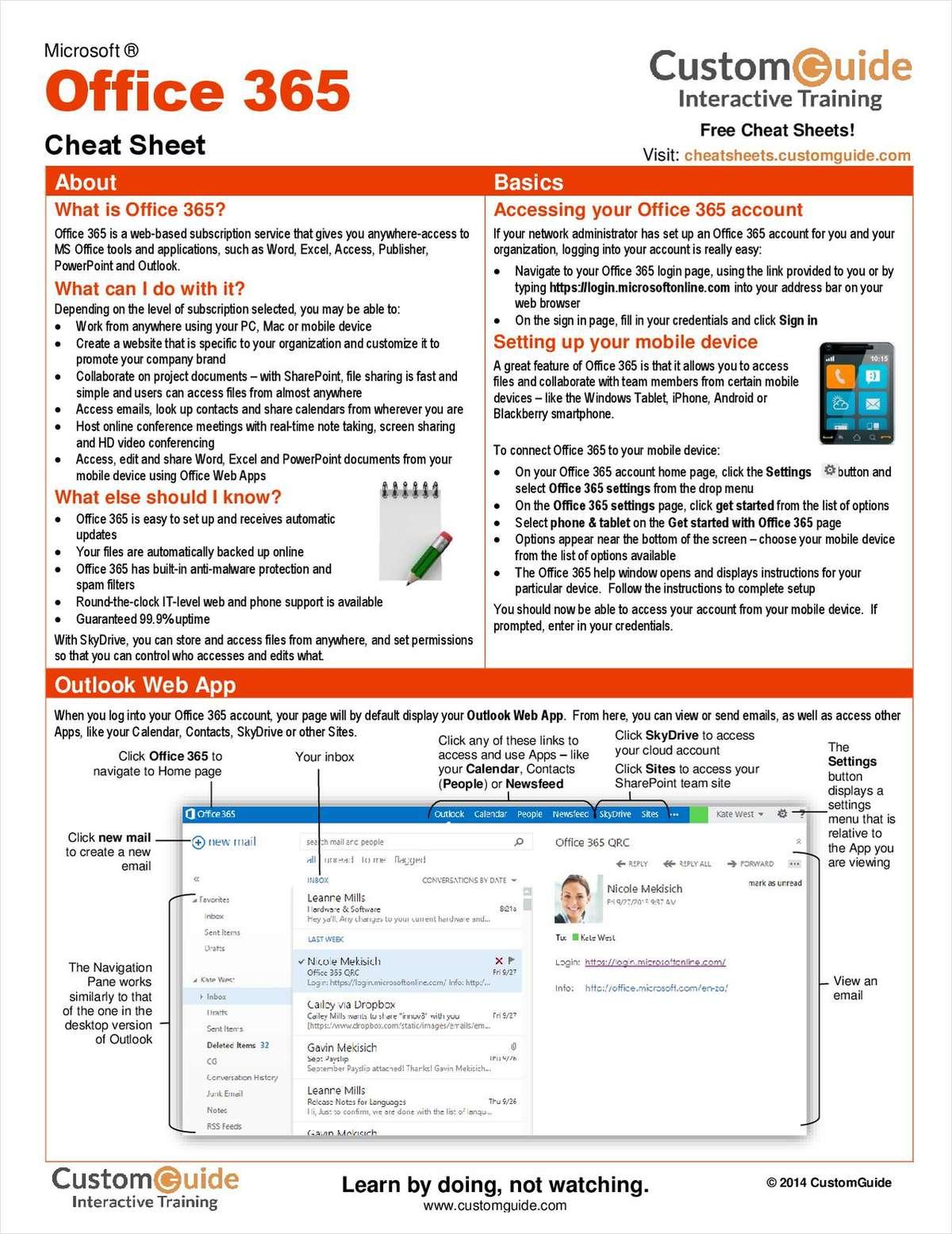 Microsoft Office 365 Free Cheat Sheet Free Cheat Sheet