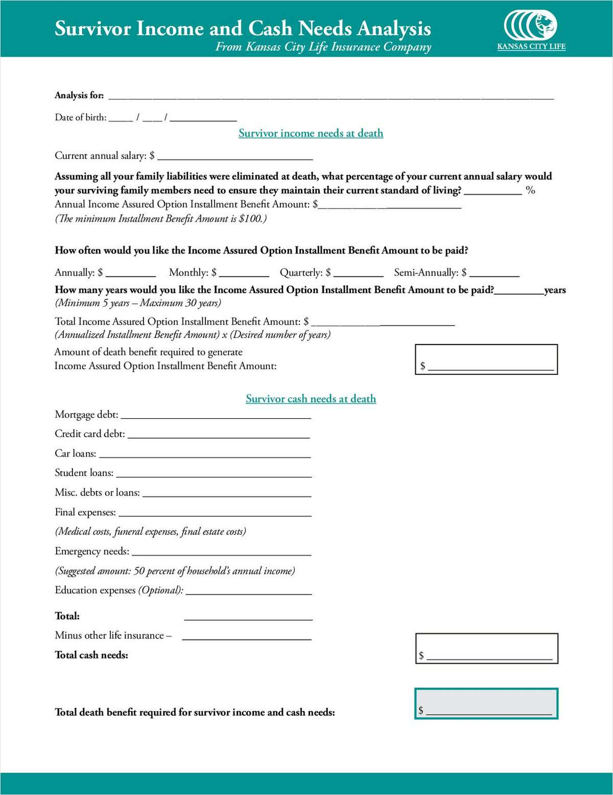 Advisor Tool Survivor Income And Cash Needsysis Worksheet Free How To Guide
