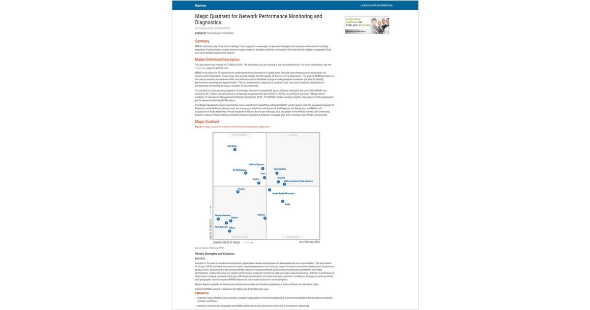 Gartner 2015 Magic Quadrant for Network Performance