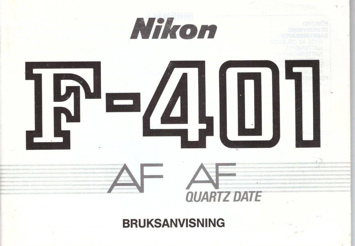 Nikon manual, F-401 AF, svensk, 64 sidor, 1987 (413358024
