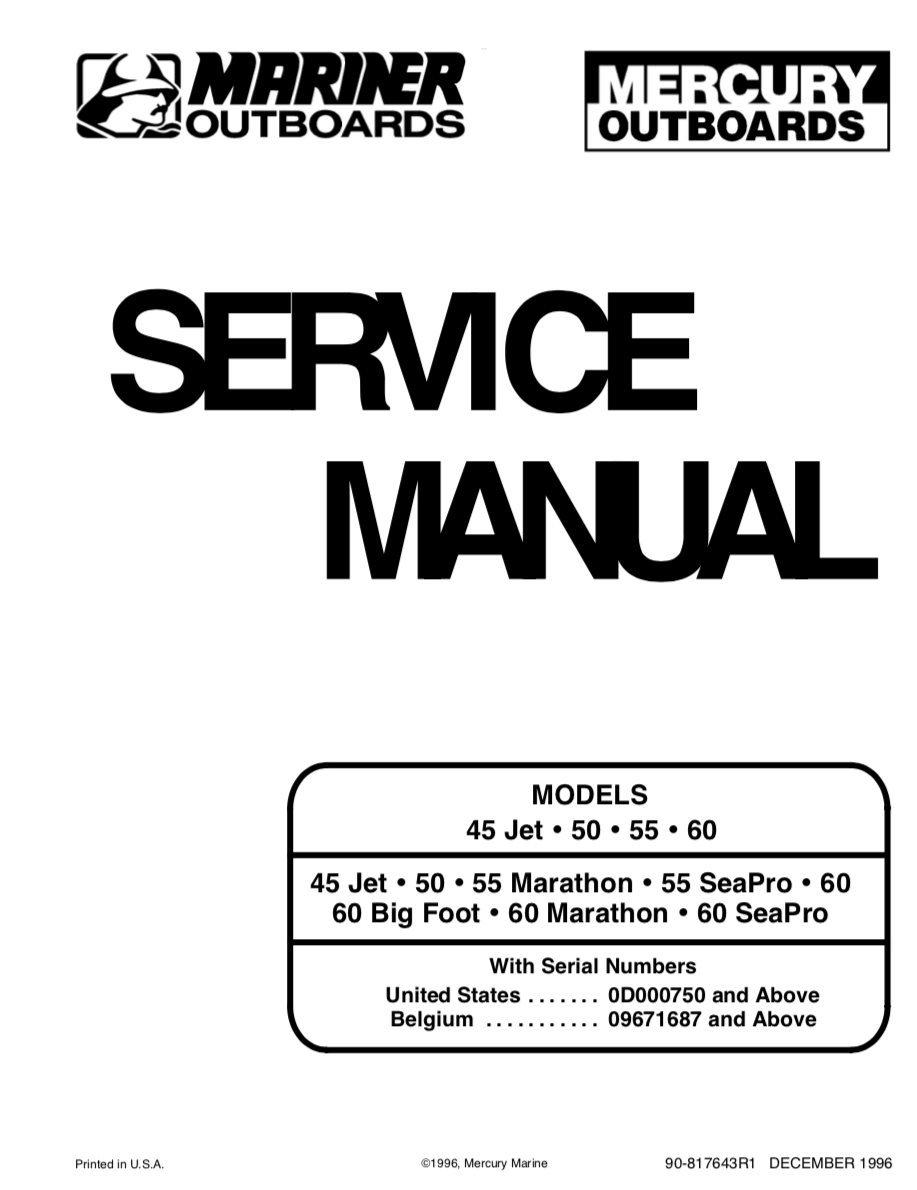 MERCURI Mariner OUTBOARDS motorer orig. manual (349278451