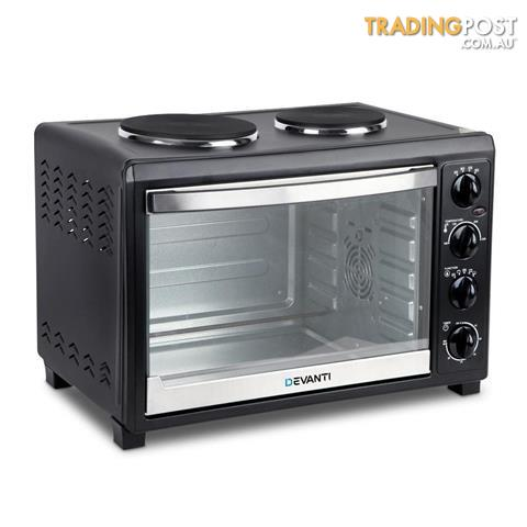 devanti convection oven electric 45l bake benchtop hot plate rotisserie