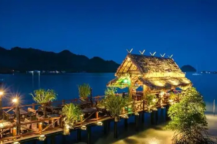 A night shot of the Langkawi Fish Farm Restaurant